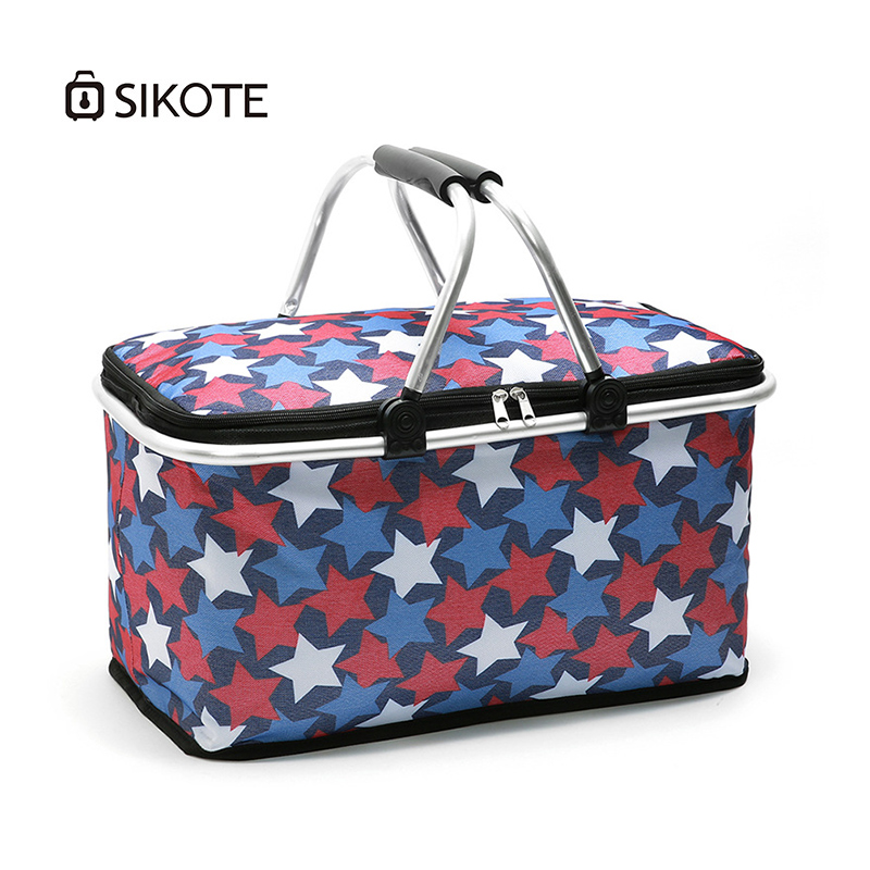 SIKOTE 29L Portable Collapsible Picnic Basket Cooler Bag Food Wine Fruit Keep Fresh Oxford Multi function Insulation Lunch Bag