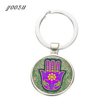 Vintage Keychain Jewelry with Silver Plated Hand of Fatima Shaped Glass Cabochon Car Keychain Ring for Unisex Gift(China)