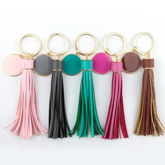New Round Monogram Blank PU Leather Tassel Key Ring Keychain Bag Charm Personalized Enamel Jewelry Wholesale Valentines day
