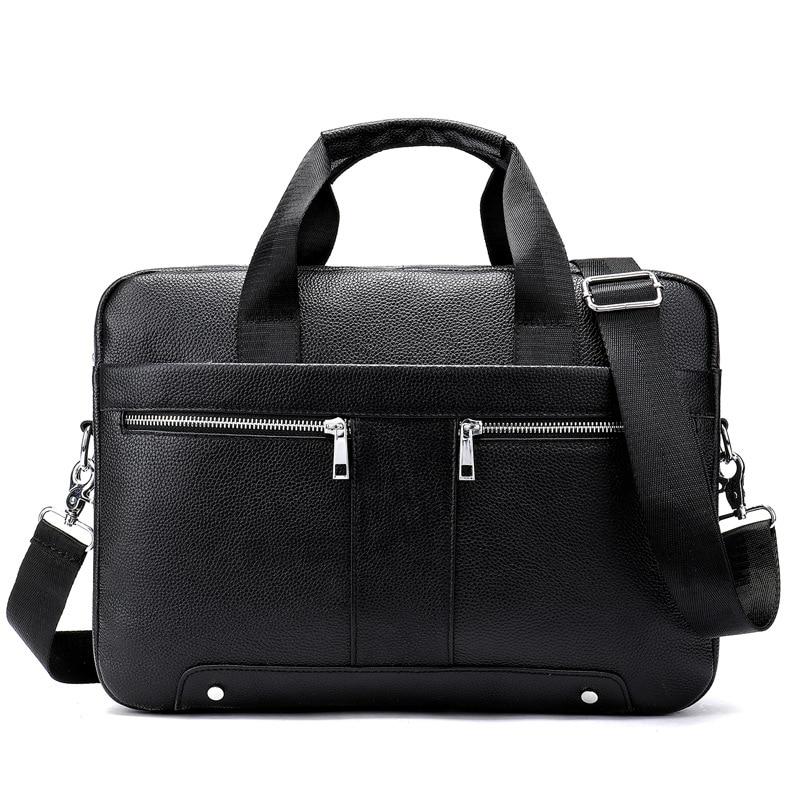2019 New Men Casual Briefcase Bag Genuine Leather Laptop Bag Shoulder Messenger Bags Business Computer Handbag