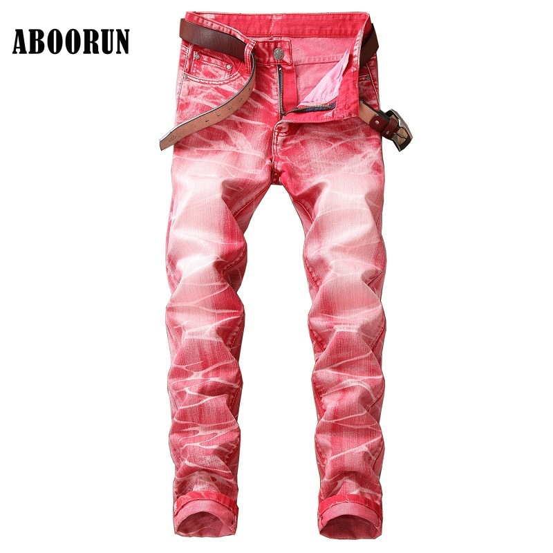 ABOORUN Fashion Mens Distressed Jeans Candy Colors Full Length Straight fit Denim Pants Mens Casual Pants YC1089 aboorun new mens pu patchwork slim fit jeans fashion skull rivet pencil denim pants with zippers for men b052