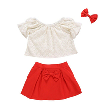 Summer Toddler Kid Baby Girl Clothes Lace Crop Top Dress Skirt Headband Bow Outfit Baby Clothes Set Casual Girls Clothing Set kids toddler girl summer clothing set ruffle off shoulder t shirt top bow skirt tutu dress stripe baby clothes outfit