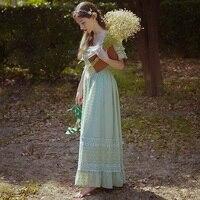 LYNETTE'S CHINOISERIE 2017 Summer Original Design Women Young Charlotte Vintage Cotton Lace Long Princess Dresses