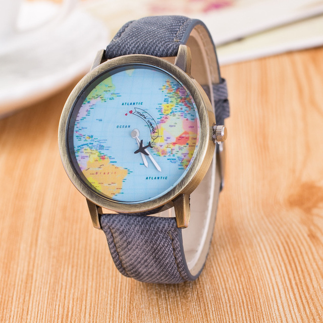 AAA Hot Sale Mini World Fashion Quartz Watch Women Men Unisex Map Airplane Trave
