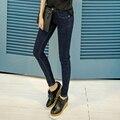 STRETCH JEANS MUJER 2016 Primavera de Nuevos Jeans Apenada Ripped Adelgazan Los Pantalones de Mezclilla Lápiz Femenino Flaco Pantalones Vaqueros Azul Tamaño 26-32 YTN61008