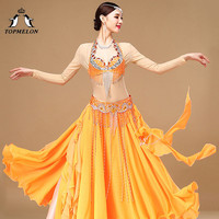 TOPMELON Belly Dance Bra Tassel Belts Bellydance Costume Set Two Piece Sequins Jewelry Decorated Clothing