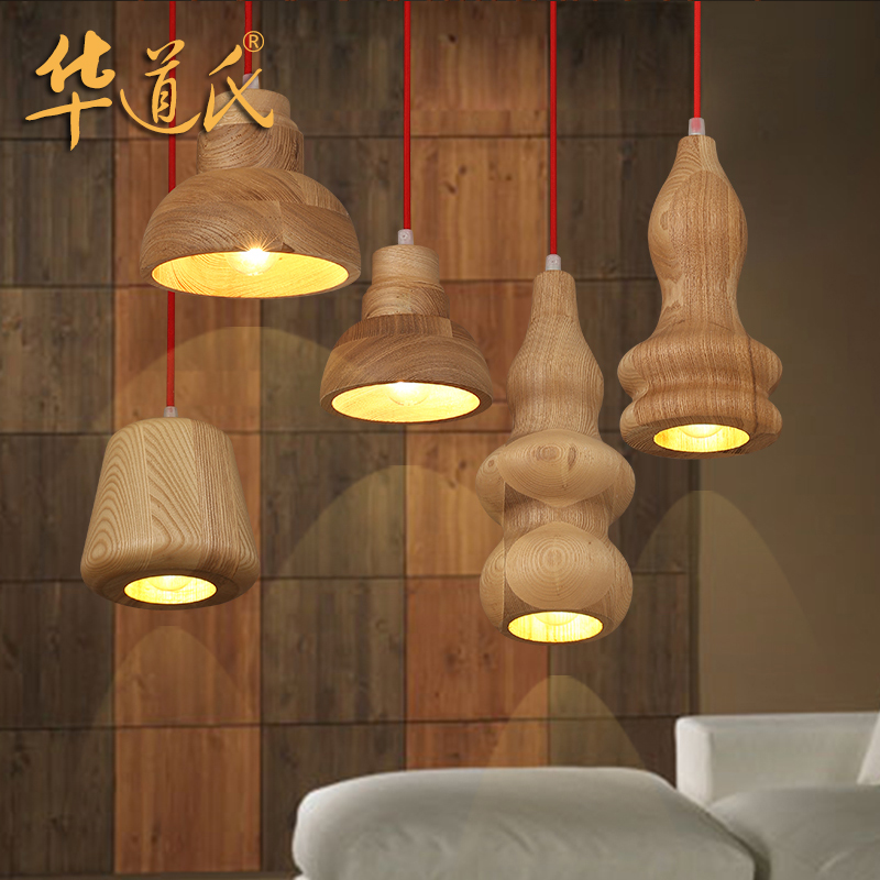 wood bar Cafe wood hyacinth single head Chandelier parasitic wood