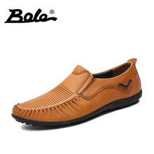 BOLE Summer New Design Genuine Leather Shoes Men Punching Breathable Slip on Men Loafers Fashion Walking Durable Flats Men Shoes