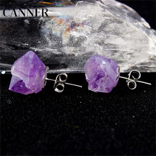 Canner Fashion Amethysts Clear Crystal Quartz Natural Raw Stone Stud Earrings For Women Jewelry High Quality raw milk quality