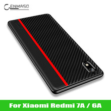 For Xiaomi Redmi 7A Case Original CENMASO Carbon Fiber PU Leather Shockproof Back Cover For Redmi 6A Case Redmi 7A Cover Funda(China)