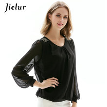 Jielur Spring Puff Sleeve Women's Shirt Hot Drilling White Chiffon Blouse Loose Plus Size S-4XL Long Sleeve Sunscreen Blusas(China)