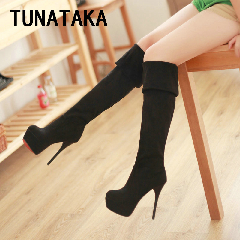 Women s Suede Thigh High Boots Sexy Over the Knee Boots Stiletto Heels Brown Black Apricot