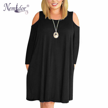 Women Casual O-neck Off The Shoulder Midi Plus Size Dress Long Sleeve Vintage Solid Loose Dress With Pockets 1