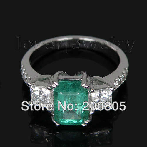 Vintage Three Stones 14Kt White Gold Diamond Natural Emerald Ring Princess Cut Diamond Luxury Design for Wife SR338