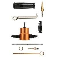 Двуглавый перфоратор для листового металла с дополнительным ударом и штампом  1 фитинг с вырезами и 1 ступенчатое сверло  F