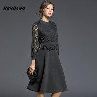 RENBANG Brand Dress Summer Women High Quality Embroidery Patchwork Hollow Out Dress Casual Long Sleeve Slim