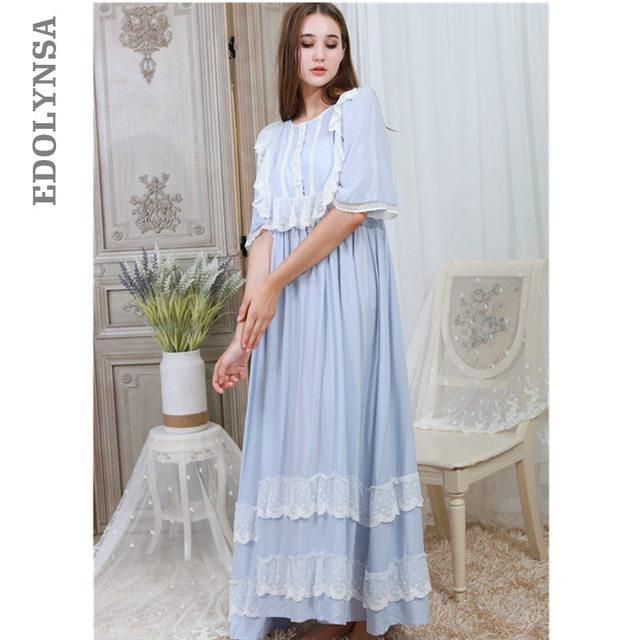 bcaf93e7b2 Elegant Solid Nightwear Women Victorian Nightgown Half Sleeve Sleepwear  Lace Patchwork Ruffled Hem Night Dress Plus Size T330