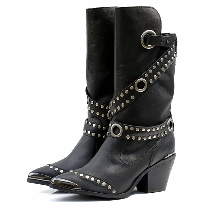Online Get Cheap Black Studded Cowboy Boots -Aliexpress.com ...