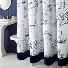 Mediterranean Style Thicken Polyester Bathroom Curtain Mould-Resistant Waterproof Bath Curtain Navigation Printed Shower Curtain deer water resistant shower curtain
