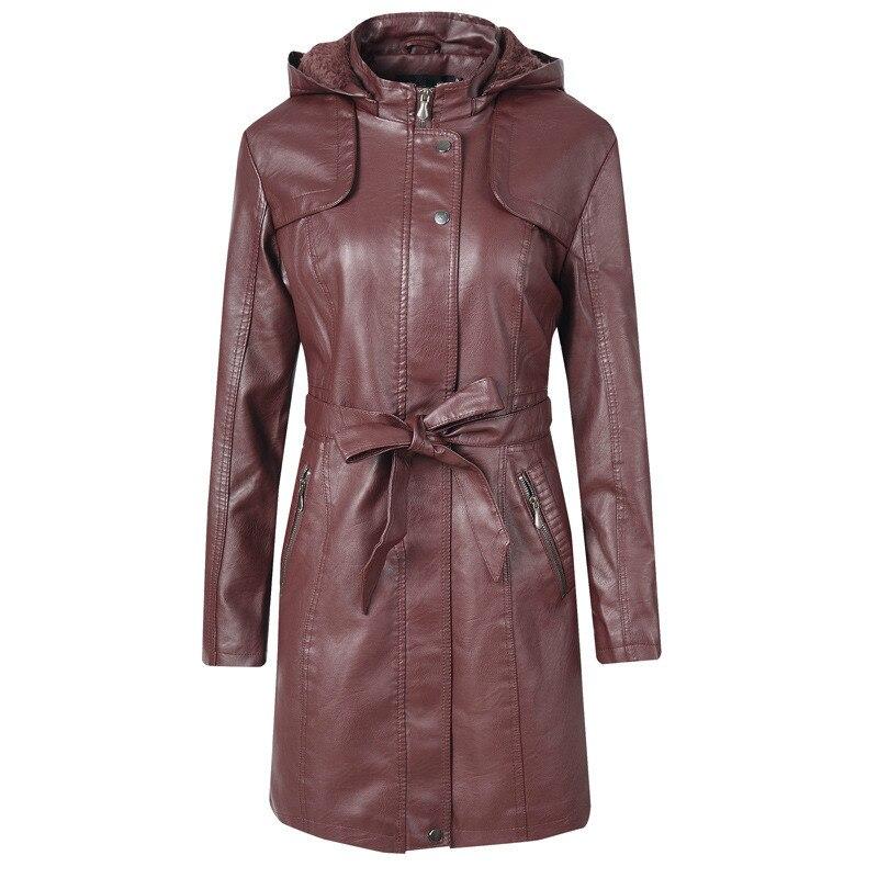 Women Overcoat Winter Girls Brown Hooded Jacket PU   Leather   Female Top Coat Long Sleeve Lady Thick Warm Faux   Leather   Windbreaker