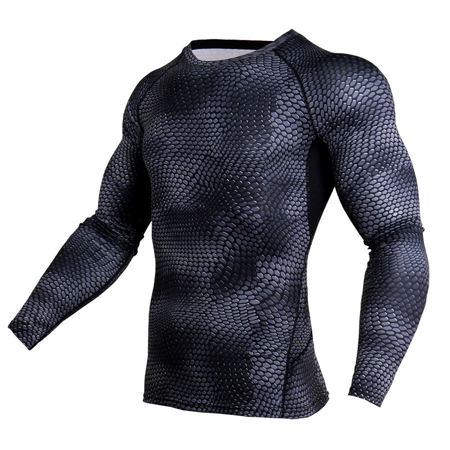 New 3D Printed T-shirts Men Compression Shirt Thermal Long Sleeve T Shirt Mens Fitness Bodybuilding Skin Tight Quick Dry Tops