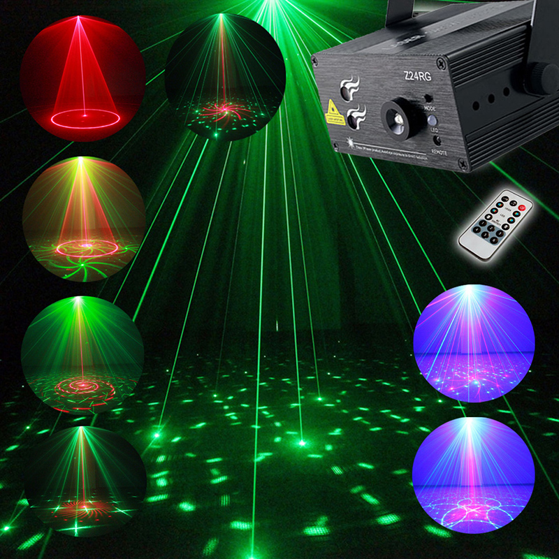 Full Color RGB Laser Stage Light Projector 3W Blue LED Stage Effect Lighting for DJ Disco Party KTV With Remote Control smuxi portable stage light auto voice led laser projector stage lighting effect dj ktv party christmas decor remote control