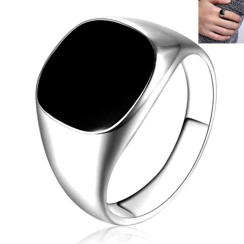 מוצק מלוטש נחושת טבעות בנד Biker גברים טבעת חותם שחור כסף Aneis קישוטי תכשיטי אביזרי Anillos תכשיט תליון