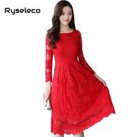 Ryseleco Women Elegant Black Red Long Sleeve Floral Lace Dresses Spring Fall Fashion Slim See Through