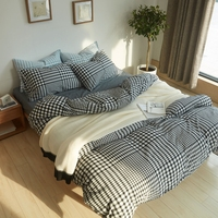 Spring summer 100% washed cotton bedding set queen king size,black and white plaid duvet cover set for adults,brief bed linens