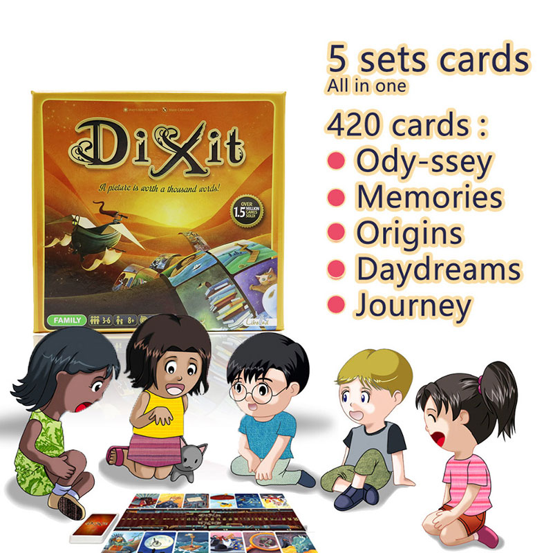 cards game Dixit English board game gather 420 cards odassey/origins/journey/daydreams/memories gift box jogo juego