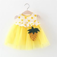 Baby dresses 2019 summer newest cute girl pineapple bag round dot mesh dress baby girl dress 6-24M(China)