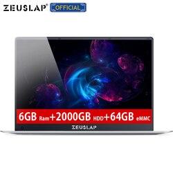 ZEUSLAP-X5 15.6 بوصة 6GB RAM 2 تيرا بايت HDD 64GB eMMC إنتل رباعية النواة وحدة المعالجة المركزية 1920X1080P FHD IPS شاشة تشغيل سريع كمبيوتر محمول دفتر