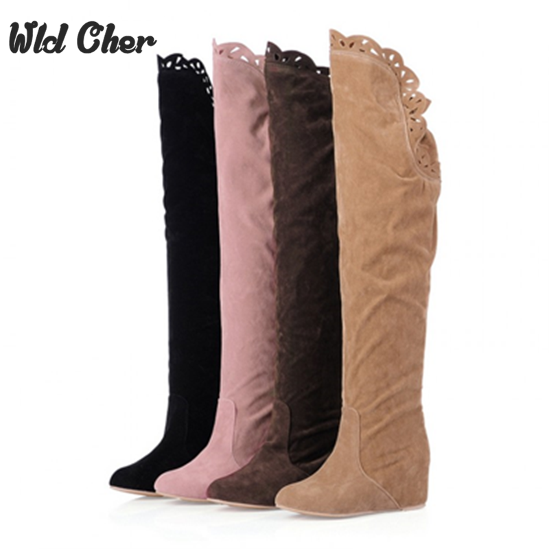 Women Stretch Faux Suede Slim Thigh High Boots Sexy Fashion Over The Knee Boots High Heels Woman Shoes Black 4 Color 34-43 mcckle woman winter thigh high boots exquisite embroidery flower faux suede high heels over the knee shoes plus size 34 43