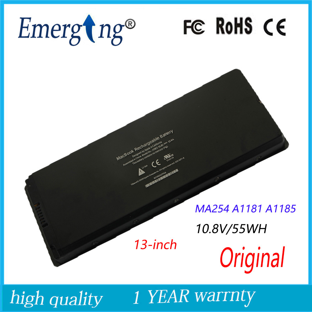 10.8 V 55WH Nouveau Original batterie d'ordinateur portable pour APPLE MacBook A1185 A1181 MA254