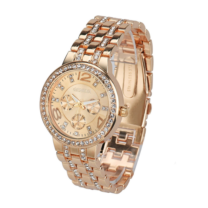 Fashion Exquisite Luxury Crystal Quartz Rhinestone Crystal Wrist Watch Casual Women Ladies watch Gold Clock Dorp Shipping 2017 duoya fashion luxury women gold watches casual bracelet wristwatch fabric rhinestone strap quartz ladies wrist watch clock