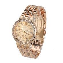 Moda Exquisito Cristal de Lujo Señoras de Las Mujeres reloj de Cuarzo Rhinestone Reloj De Pulsera Casual Reloj de Oro Envío Libre 2016