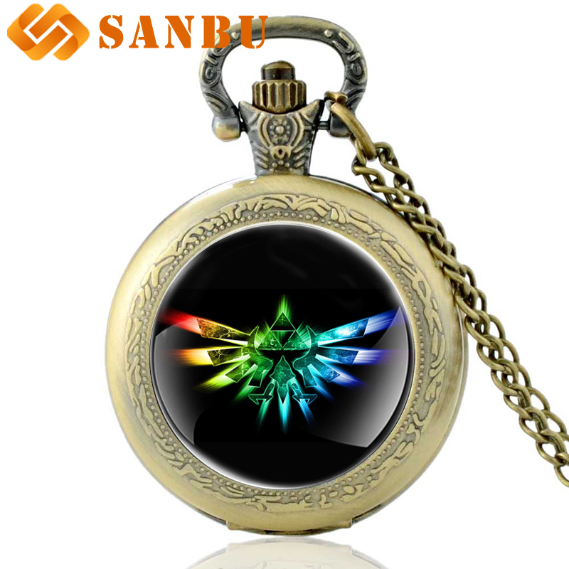 Fashion Black The Legend Of Zelda Quartz Pocket Watch Vintage Men Women Bronze Necklace Gifts