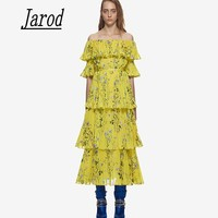 High Quality Runway 2018 Summer Long Self Portrait Dress Maxi Women Sexy Off the Shoulder Floral Printed Tiered Dresses