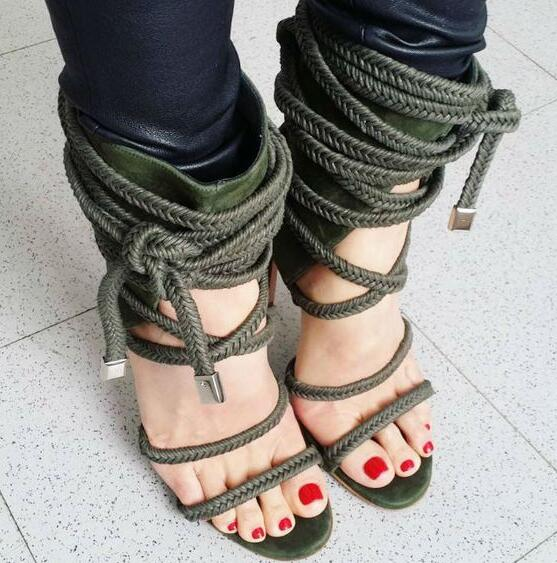 цена на New Fashion Army Green Suede Leather Women Sexy Sandals Braided Straps Lace Up Ladies High Heels Cutout Style Female Dress Shoes