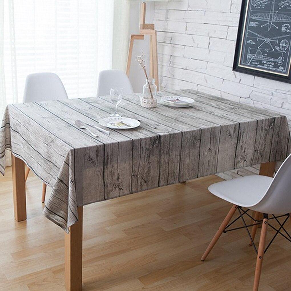 Retro Wood Grain Square Shape Tablecloth Cotton Linen