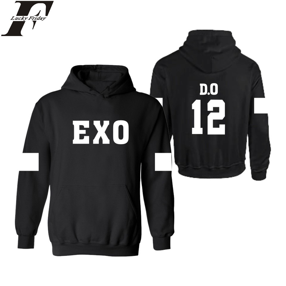 LUCKYFRIDAYF EXO Kpop Hooded Sweatshirt Women Cotton Korean Popular Team Casual Womens Hoodies Pullover KAI CHANYEOL TAO Clothes