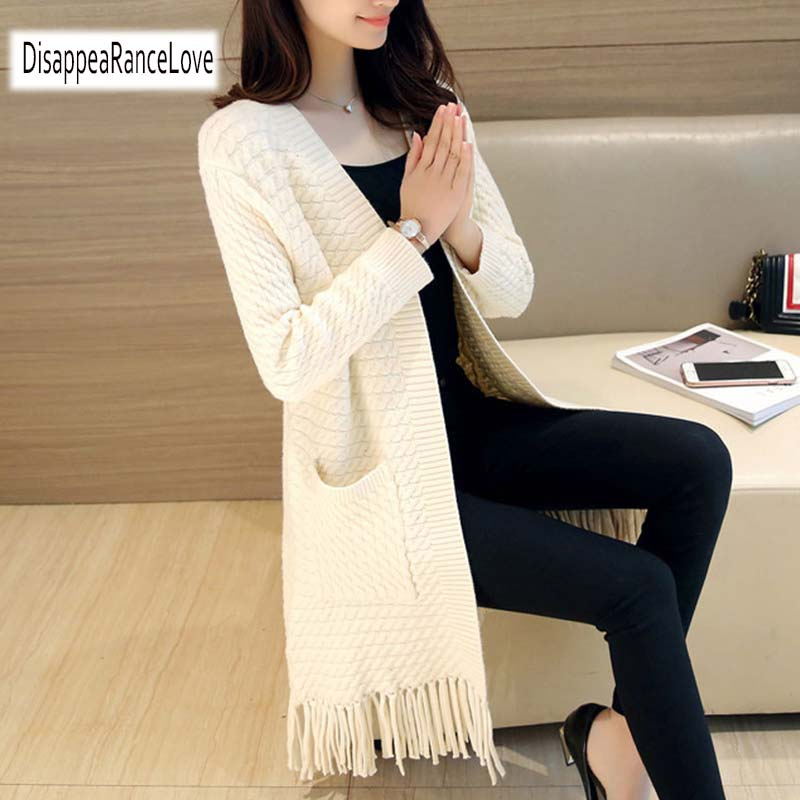 2019 Women Sweater Elegant Long Knitting Cardigan Sweater Women Jumper Female Long Sleeve Tassel Sweater Beige Knit Sweater