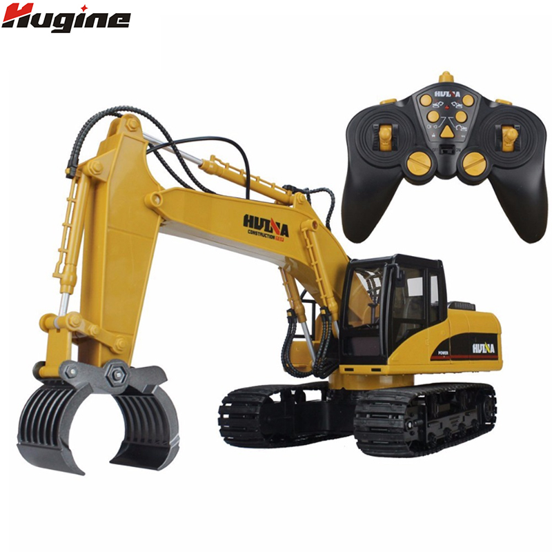 RC Truck 16 Channel 2.4G RC Alloy Timber Grab Excavator Rechargeable Sound and Light Demo Remote Control Engineer Truck