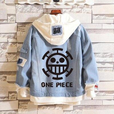 New One Piece hoodie Anime Lully Jeans Coat Men Women Fashion Jacket
