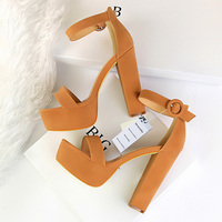 2019 Women Classic 13cm Block High Heels Fetish Suede Platform Sandals Female Chunky Summer Shoes Lady Nude Sexy khaki Red Pumps