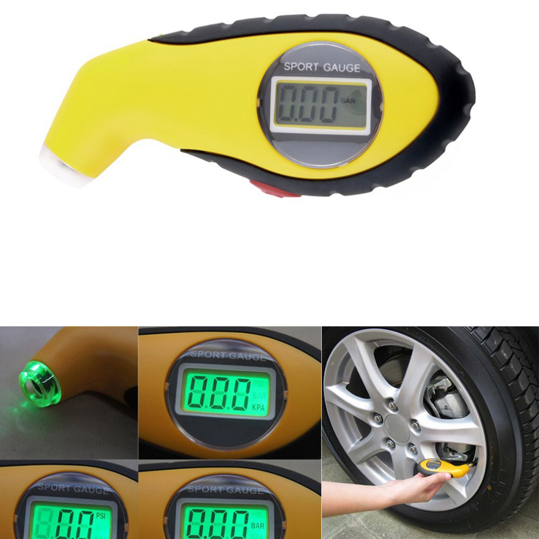 1pcs New PSI Digital Tire Tyre Air Pressure Gauge Tester Tool For Auto Car Motorcycle PSI  KPA BAR air pressure gauge 0 300 psi 0 16 bar with inflating gun fit for auto car motorcycle bicycle type measure meter 6007