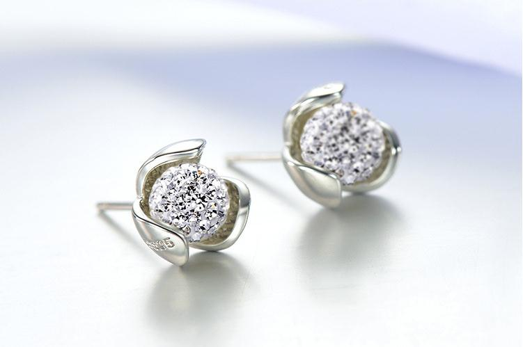 100 925 sterling silver fashion Shambhala ball flower ladies stud earrings jewelry wholesale Anti allergy drop shipping in Stud Earrings from Jewelry Accessories