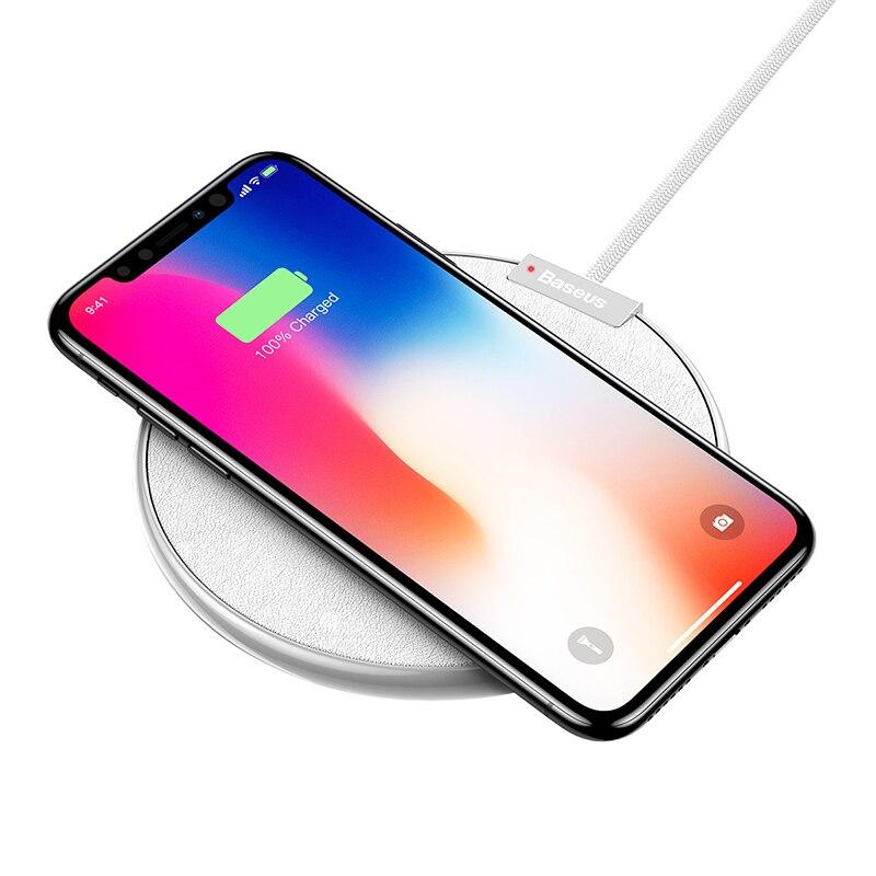 Беспроводное зарядное устройство Baseus из кожи Qi для iPhone 11 Pro Xs Max X samsung Note 10 S10 Xiaomi Mi 9 Быстрая Беспроводная зарядка - Цвет: Белый