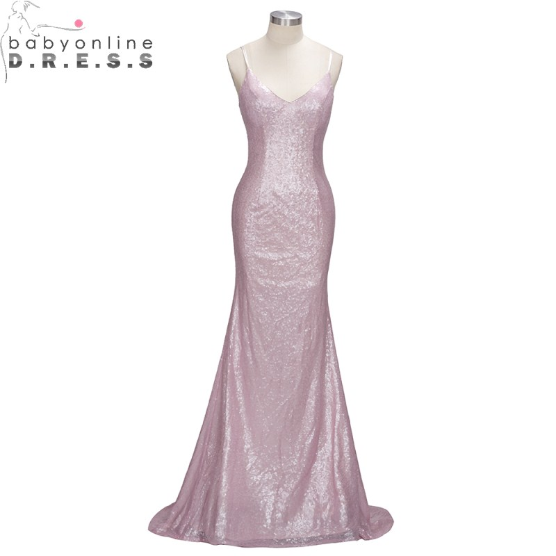 New Arrival Spaghetti Strap Sleeve Sequin Mermaid   Evening     Dress   Long V Neck Simple   Evening   Gown Robe de Soiree Longue