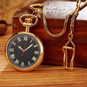 Image 4 - Montre de poche mécanique rétro dorée de luxe pour hommes et femmes. Chaîne Fob exquise. Sculpture en cuivre. Montre de poche automatique. Cadeaux